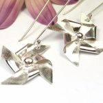 Windmill earrings created with silver clay sheet